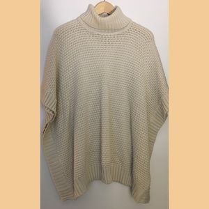 Forever 21 Cream Turtleneck Poncho Style Sweater